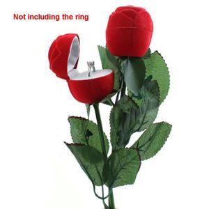 Gift Wedding Storage Romantic Display Velvet Packaging Accessories 3D Rose Shape Portable Ring Box