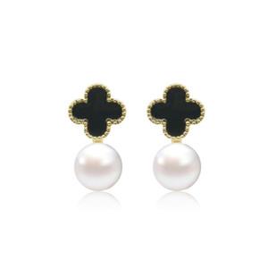 2019 мода медь четырехлистный клевер жемчужные серьги для женщин роскошный дизайнер жемчужные украшения