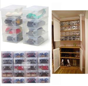 Hohe Qualität 10 teile / los Faltbare Kunststoff Schuh Aufbewahrungskoffer Boxen Stapelbar Organizer Schuhhalter korb Einfach DIY 0404