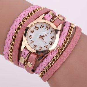 Luxury Designer Cheapest Women Hand Chain Watch Weave Wrap Around Leather Bracelet Bangle Wristwatch Women Ladies Quartz Watch