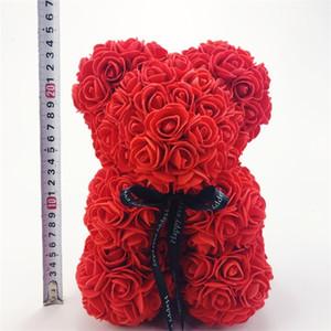 25cm Künstliche Valentines Romantische Geschenkbox Rose Blume Teddybär Mütter Tag Geschenk Nette Dekorationen Handgemachte Blumenbär DH01010 T03