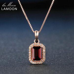Lamoon 5x7mm 1.1ct Grenat rectangulaire naturel 925 argent sterling chaîne collier pendentif S925 LMNI053