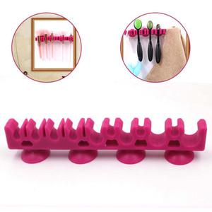 Tamax MP021 1Pcs silicone Makeup Brush Holder compo escovas rack com 4 Ventosa Eyeshadow escova Cavalete ferramenta de beleza cosméticos