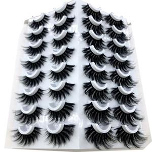 HBZGTLAD 16 paires 3D Mink cils naturels Faux cils Faux volume dramatique cils Maquillage Cils Extension soie Cils
