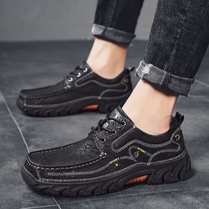 2020 New Leather Shoes Mens Autumn New Casual Shoes Waterproof Non-Slip Hiking Shoes Mens Cross-Border Large Size Mens