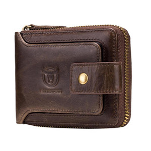 BULLCAPTAIN Men Genuine Leather Brand RFID Wallet Fashion Male Organizer Coin Purse Pockets Slim Zipper Clamp Wallet Card Holder