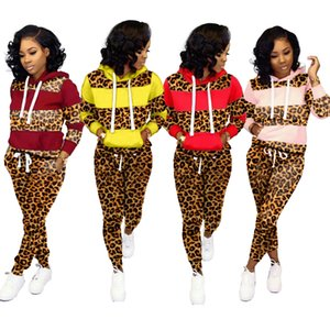 Женщины Leopard Щитовые Tracksuit Толстовка с длинным рукавом Лоскутная с капюшоном пуловер Топы Брюки Брюки Два кусочка Эпикировка набор Спортивный костюм LJJA3177