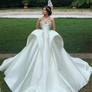 2020 Мода Свадебные Платья Милая Аппликация Рукавов Баски Бальное Платье Свадебное Платье Романтический Белый Атлас Развертки Поезд Свадебные Платья