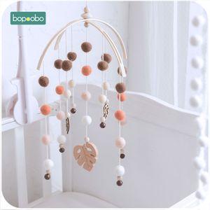 Bopoobo 1 set Silicone Beads Baby Mobile Beech Wood Bird Rattles Wool Balls Kid Room Bed Hanging Decor Nursing Children Products V191109