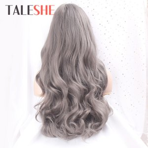 Hair Synthetic Wigs(For Black) TALESHE Synthetic Dark Grey Long Wavy Wigs for Black Women Cosplay Wig with Bangs African American Blonde