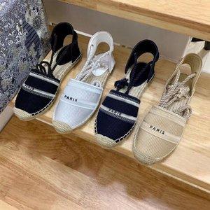 plataforma de designer de moda casual sandálias de verão do alfabeto sapatos pescador mulher luxuosa sapato cânhamo corda grama tecida Baotou sandálias tamanho 35-42