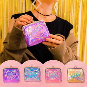 Bentoy holograma niñas Mini monedero de la cartera del corazón láser corta de las mujeres del portatarjetas del embrague del cerrojo del monedero