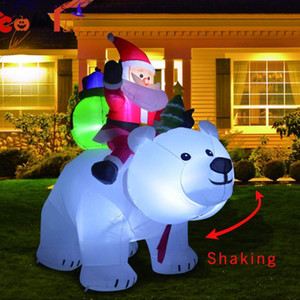 Inflable gigante Santa Claus a caballo del oso polar 2M inflable de Navidad Sacudir la cabeza de la muñeca decoración de Navidad de interior al aire libre Jardín