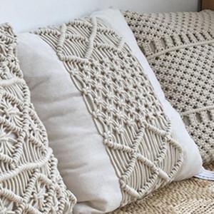 Fronhas fronha Couch Sofa Boho Home Decor presente Creme Almofada decorativa almofada 000 Bohemia Handmade Cotton Macrame Lance