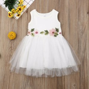Toddler Kids Baby Girl Embroidery Floral Dress Sleeveless High Waist Princess Lace Tutu Tulle Cocktail Dresses