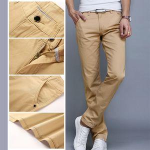 Swokii Erkekler Pantolon Moda İş Casual Slim Düz Tam Boy Pantolon İlkbahar Yaz Erkek Uzun Pantolon 7 Renk Pantolon Erkekler Y200114