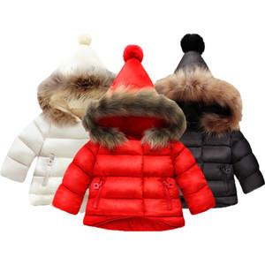 Kız bebekler Kış Kürk Kapşonlu Coat Çocuk Dış Giyim Çocuk Giyim Bebek Kız Ceketler İçin Kızlar Coat Pamuk Sıcak Ceket