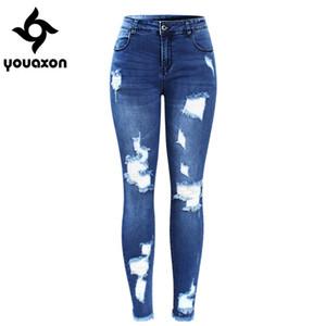 2127 Youaxon Yeni Ultra Sıkı Mavi Püskül Yırtık Kot Kadın Kadınlar Için Denim Pantolon Pantolon Kalem Skinny Jeans Y19042901