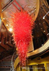 Big Hotel Decor Red Blown Murano Glass Chandelier Fuente de luz LED Ahorro de energía AC 110V 240V Decoración de arte moderno Villa Decoración Araña Luz