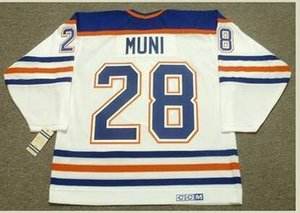 Custom Men Youth women Vintage #28 CRAIG MUNI Edmonton Oilers 1990 CCM Hockey Jersey Size S-5XL or custom any name or number
