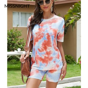 Missnight Tie Dye Biker Plsysuits T Shirt Sets Women Rompers Shorts Two Piece Set Casual Outfits Streetwear Plus Size Dropship