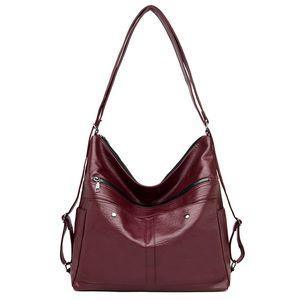 LONOOLISA Weinlese-Damen-Taschen-Handtaschen-große Kapazitäts-Multifunktions-Frauen Schultertasche aus weichem Leder-Handtaschen Taschen