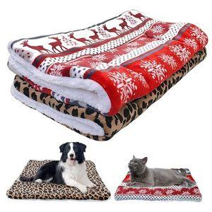 Fleece Dog Bed Mat Warm Winter Puppy Cat House Kennel Small Medium Large Dogs Beds Christmas Sleeping Blanket EEA1014