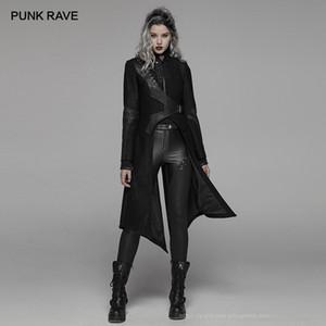 PUNK RAVE Women's Punk Black Stand Collar Irregular Long Jacket Goth Asymmetric Party Club Stage Performance Winter Women Coat