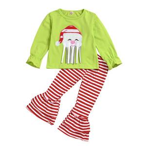 Vêtements de bébé de Noël Filles Costumes Automne Père Noël Broderie manches longues T-shirt + Pantalons Flare Pantalons Ensembles Stripe Pyjama Enfant M705