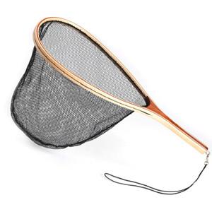 Mango de pesca de madera a mano suministros de exportación tejido en malla de nylon de goma redes de pesca Gear