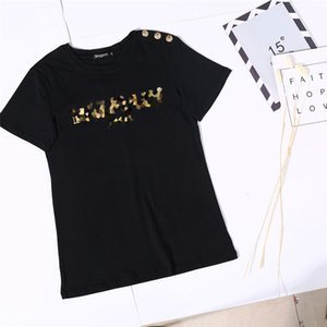New Classic T-Shirt Shoulder Gold Buckle Tees Loose T-Shirt Couple Short-Sleeved Cotton Letter Printed T-Shirt Women's Shirt