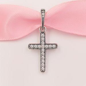 Authentique perles en argent sterling 925 Classic Cross Pendentif, Clear CZ Charms Convient à des bracelets de bijoux de style Pandora européen 397571CZ