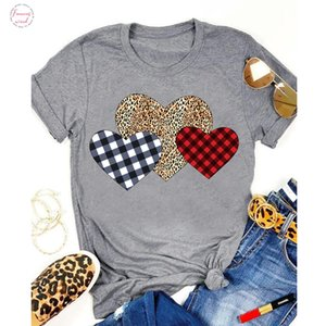 Plaid Leopard Heart Colored Print T Shirt Cute Valentines Day Gift Tshirt For Girlfriend Women Valentines Love Graphic Tee Top