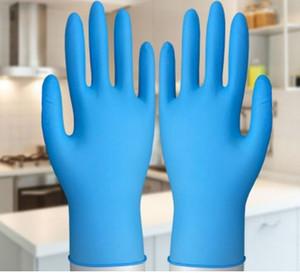 قفازات النتريل قفازات المتاح 100PCS الأزرق المطاط للحصول على قفازات المطبخ تنظيف سلامة العامل القفازات المنزل والحديقة تنظيف بالجملة في الأوراق المالية