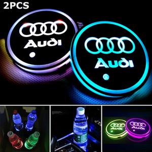 حامل 2PCS كأس LED بساط الوسادة كوستر مع USB قابلة للشحن الداخلية الخفيفة الديكور لأودي BMW AMG تسلا JEEP CHEVROLET فورد ملحقات