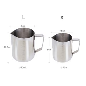 350mL acciaio inox Milk Frother lanciatore latte del caffè della gomma piuma Contenitore di misurazione Cup tazze di latte schiumogeni Latte Art Pull Coppa Fiore