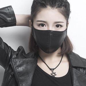 Мода Женщина Pu Кожа Респиратор ветрозащитных непромокаемая антипылевая маска WRAM дышащих Масок моющийся Рот Обложка