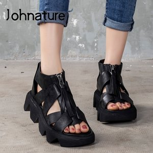 Johnature 2020 New Spring Platform Sandals Genuine Leather Women Shoes Zip Retro Sewing Flat With Handmade Ladies Sandals Y200702