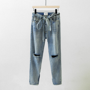 20ss 2Colors Jeans Hip Hop allentato casuale pantaloni del denim Streetwear uomini di modo Hipster Punk Rock pantaloni maschili Pants