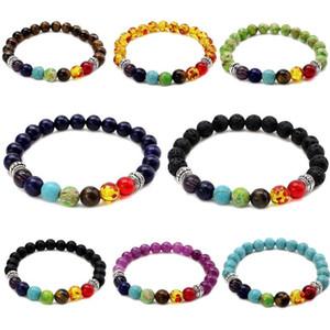 7 Chakra bracciali perline di yoga fascino per i monili delle donne Mens Healing Lava Rock Tiger Eye Ambra Turchese Ametista lapislazzuli pietra naturale