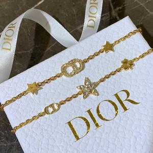 mektup bilezik klasik Moda kristal çift zincir bilezik ayarlanabilir uzunluk tarzı çekicilik bilezik