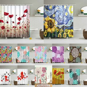 High Quality Washable Bath Curtains Abstract Flowers Shower Curtain In The Bathroom Polyester Fabric Screen with Hooks