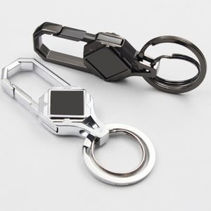 Custom Lettering Stainless steel patch Key Chain Double Loops Key Ring Waist Belt Clip Key Holder Metal Car Keychain