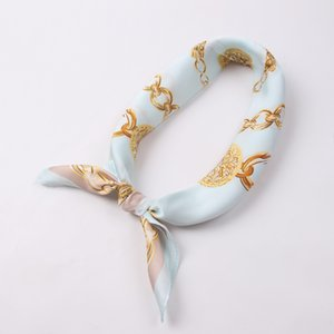 Dolphin Mulheres Scarf Praça 60 x 60cm Golden Chain Imprimir Chiffon lenços de seda rosa azul bebê Office Lady Bandanas Bandana