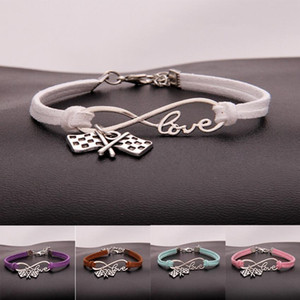 Fashion Jewelry Ancient Silver Flag checkered flag Bracelet Charm Bracelet Jewelry Mixed Velvet Rope Infinity Love 8 Bangle - 91