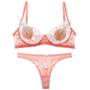 Shaonvmeiwu Sexy Rendas Ultra Fino See-through Net Gaze Senhora Underwear Bra Set Transparente Sem Esponja Bra Feminino Y19070402
