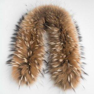 Luxus Echten Waschbären Pelz Schal Frauen 100% Natürlichen Waschbären Pelzkragen Winter Warme Kragen Schals 70 * 13 cm ZDC-163001
