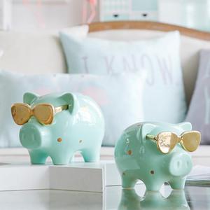 1 Parte Money Box Piggy Bank fresco Pig Estátua caixa de moeda para o dinheiro do presente de aniversário para crianças Creative Home Decor ornamento