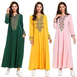 Muslim Women Long Maxi Dress Robe Abaya Embroidery Dubai Ethnic Jilbab Kaftan Islamic Clothing Arab Dresses Ramadan Fashion New
