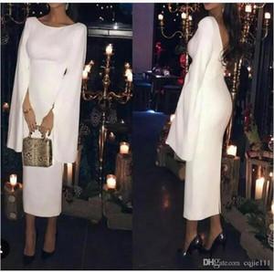 2020 neue Entwurfs-Abend-Kleider Scoop Neck Satin mit langen Ärmeln Gelegenheit tragen Promi Abendkleider nach Maß In China vestidos de novia 2018